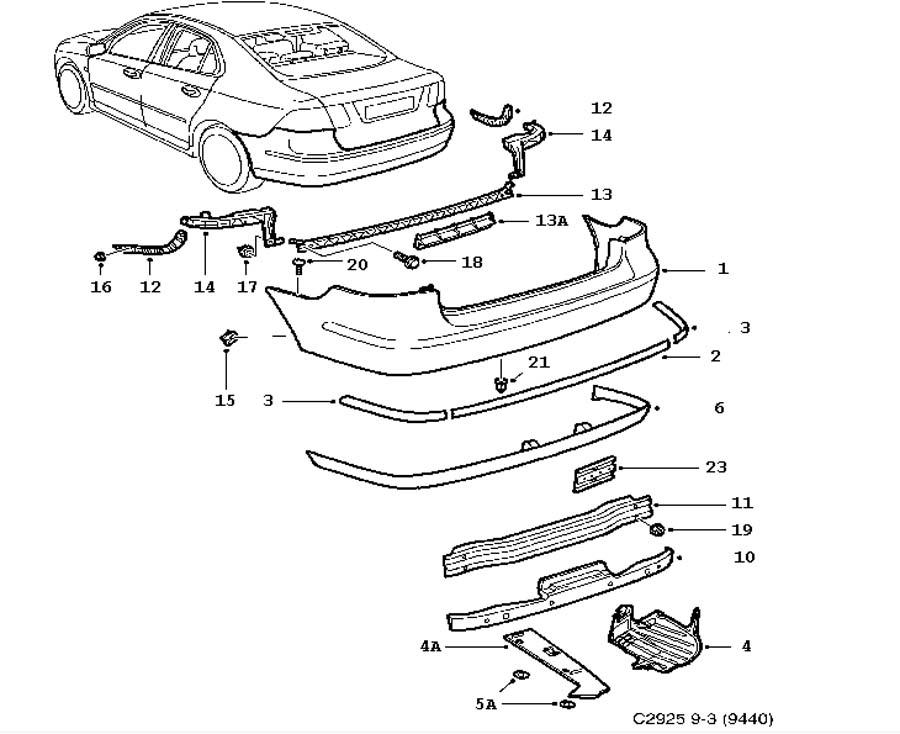 Bumpers, Bumper, rear 4 door