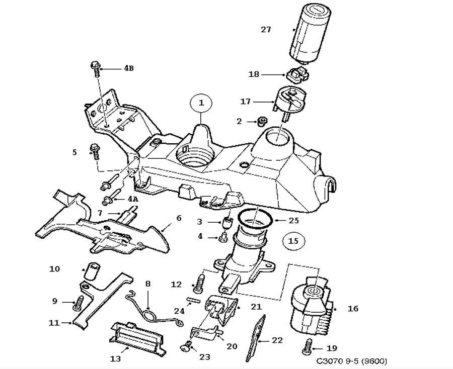 Gear box control, manual, Gear shift housing Manual