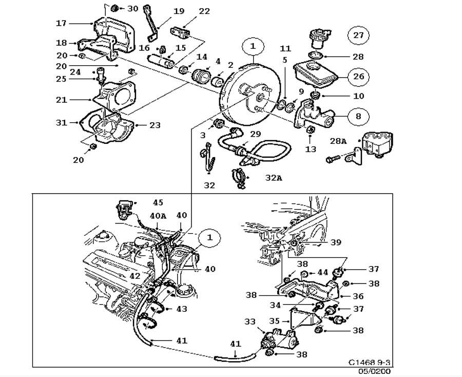 Footbrake system, Master cylinder, vacuum brake booster 4