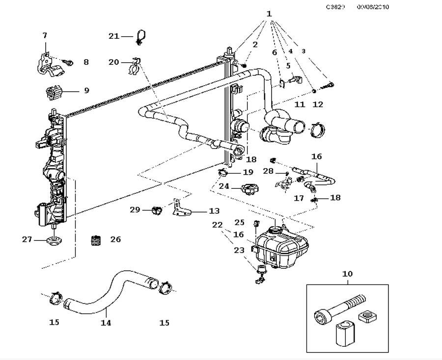Cooling system, Radiator, Expansion tank A16LET,4 Cylinder
