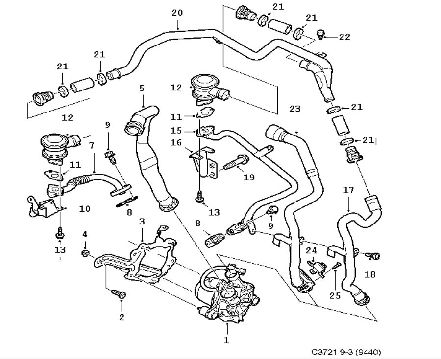 Inlet and exhaust system, SAI 6 Cylinder
