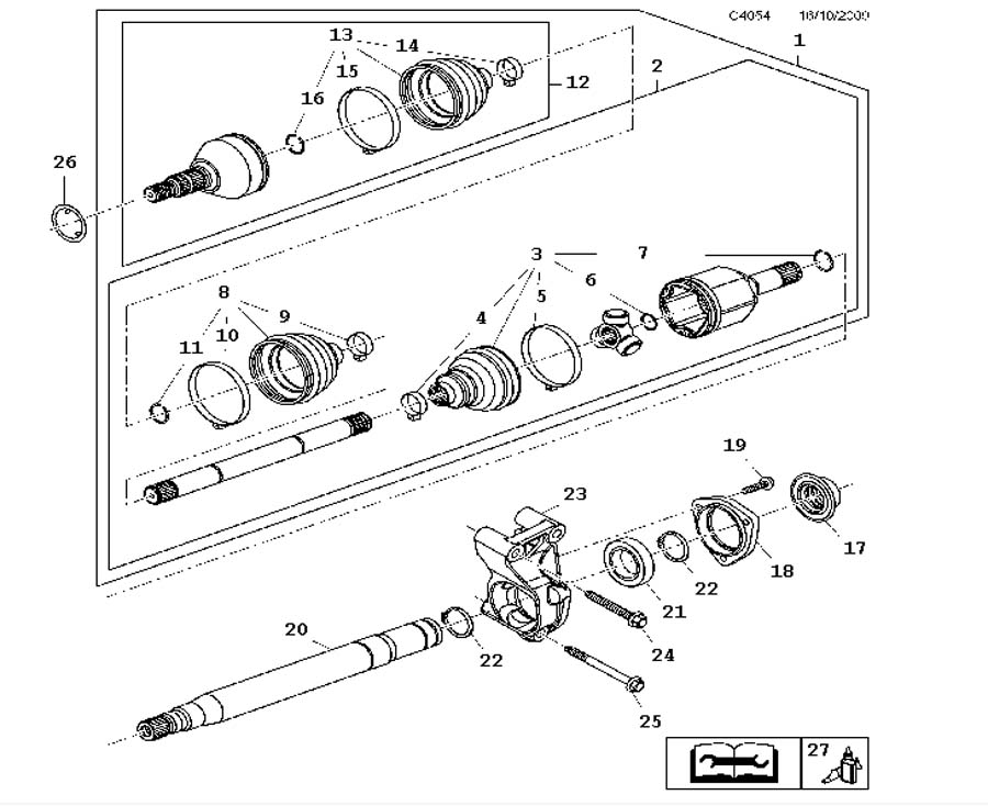 Drive shaft, Outer universal joint, Front A20NHT,4