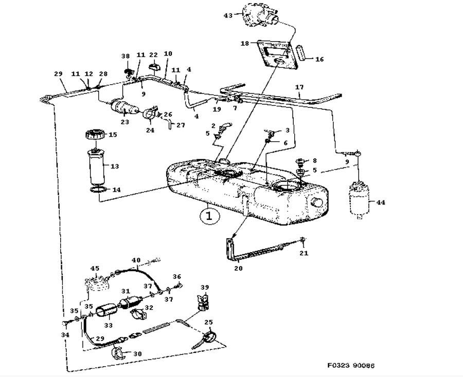 Fuel system, Fuel tank, engine ,4 Cylinder,