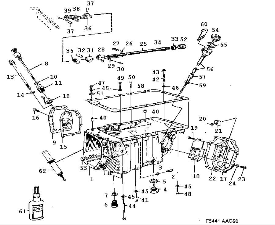 Gear box, manual, Gear box case, oil pan Manual