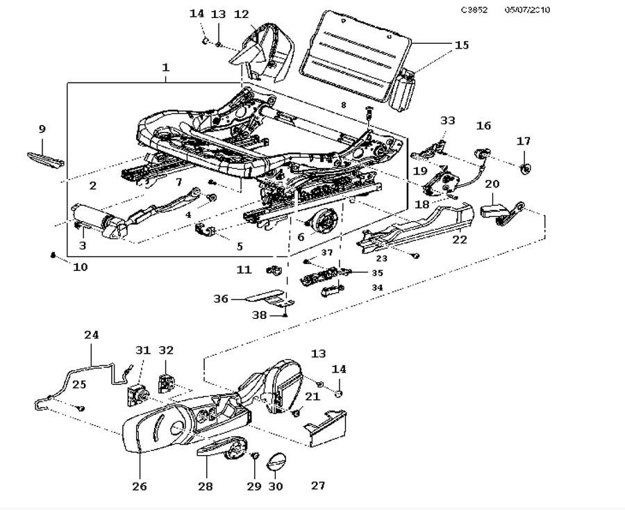 Front seat, Cushion frame, Manual, 6-way