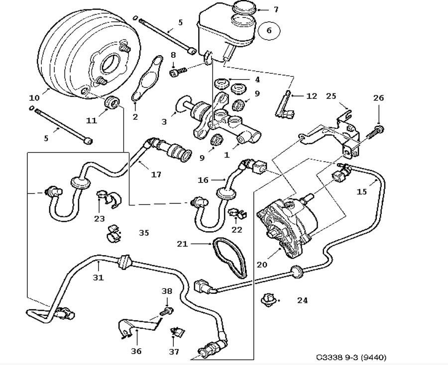 Footbrake system, Master cylinder, vacuum brake booster