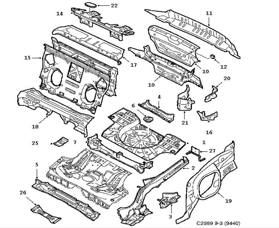 Car body, Rear floor 4 door 5 door Convertible