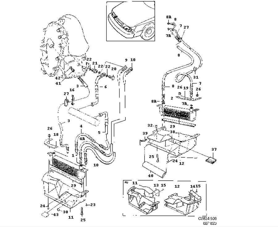 Cooling system, Air oil cooler, Engine and aut. transm