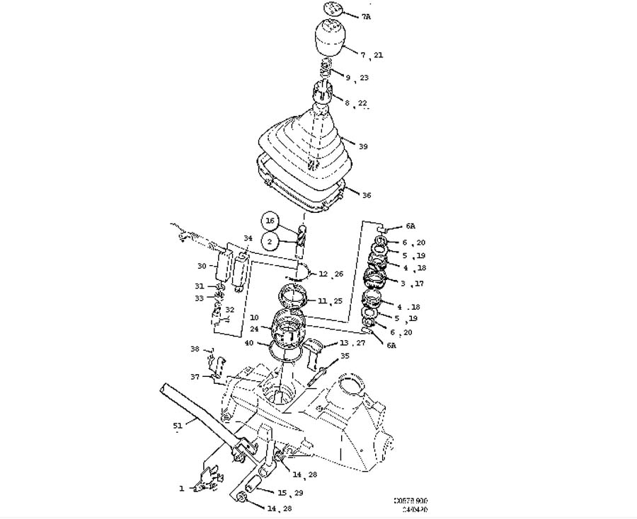 Gear box control, manual, Gear shift lever Manual