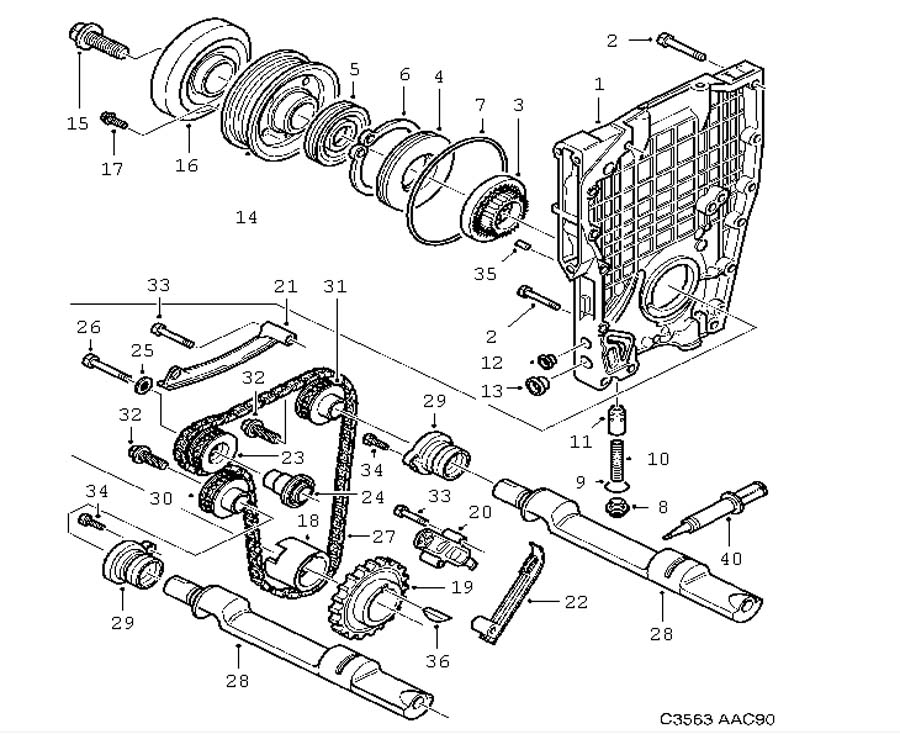 Engine body, Transmission, Balance shaft 4 Cylinder