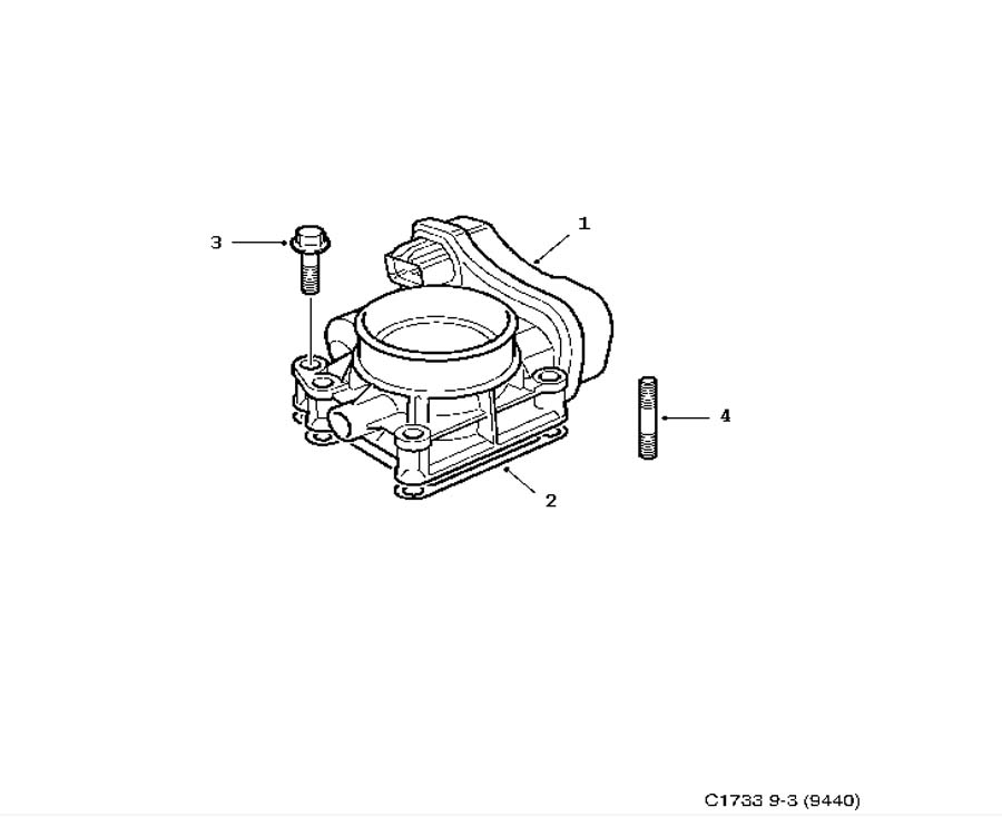 Inlet and exhaust system, Throttle body 4 Cylinder