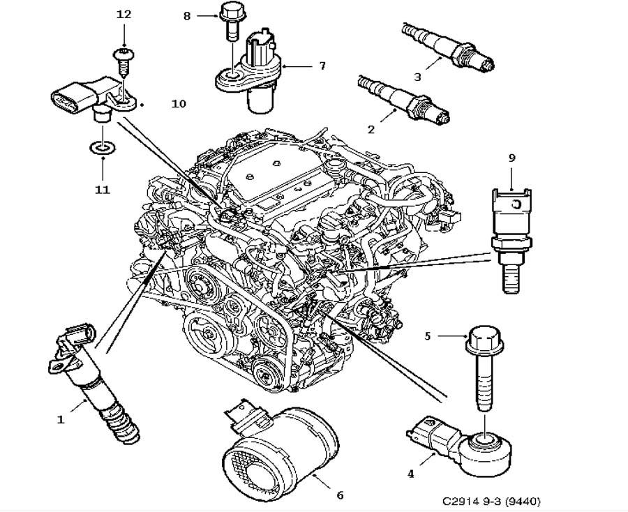 Inlet and exhaust system, Sensor, Sensor 6 Cylinder