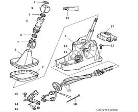 Gear box control, manual, Gear shift housing, Shift lever