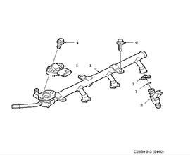 Fuel system, Fuel rail 6 Cylinder