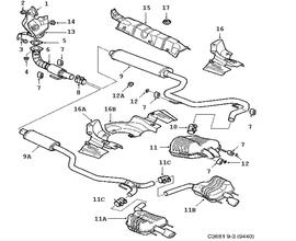 Inlet and exhaust system, Exhaust system 4 Cylinder