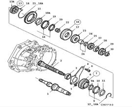 Gear box, manual, Shafts, gears, Output shaft 4 Cylinder