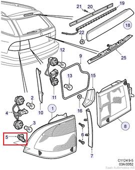 saab 9 3 audio wiring diagram peugeot diagrams 9-5 5d tail light clip[5404215]