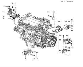Short block, Engine suspension A16LET,4 Cylinder Turbo, Manual
