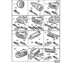 Wiring and fuses, Connector housing etc, 27-pin-70-pin