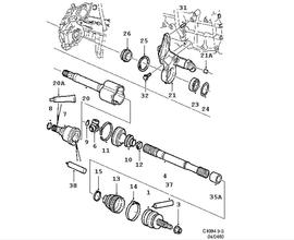 Drive shaft, Outer universal joint ,4 Cylinder Turbo, 4