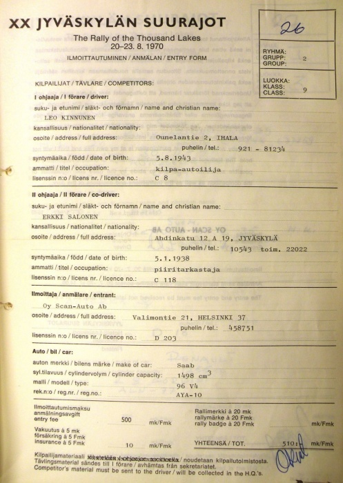 Leo Kinnunen participation document Rally Of The Thousand Lakes 1970