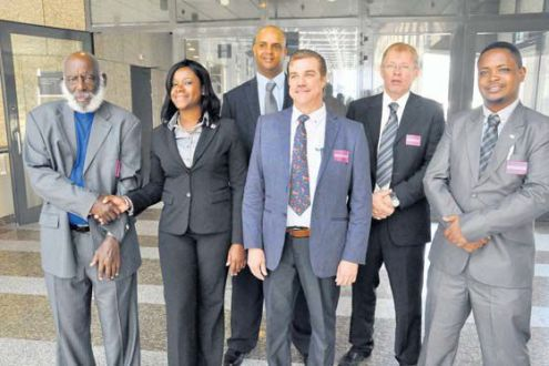 The Saba Island Council delegation was present at Monday's debate in the Second Chamber about the constitutional evaluation of the Caribbean Netherlands. From left: Island Council Members Ishmael Levenstone, Monique Wilson, Eviton Heyliger, Carl Buncamper, Acting Registrar for the Island Council Menno van der Velde and Councilman Vito Charles. (Suzanne Koelega photo)