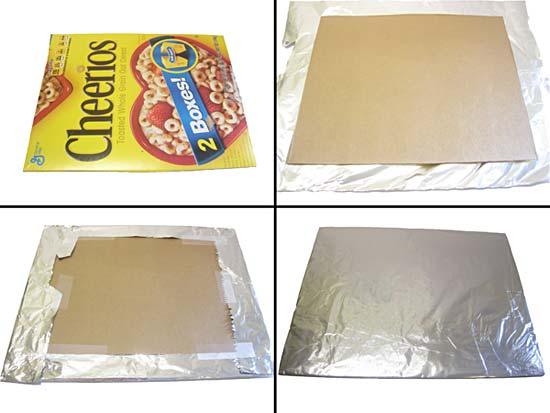 reflector fabricado en cartón con papel de aluminio