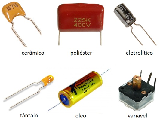 Alguns tipos de de capacitores comuns no mercado