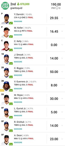 giantsquid ($70k MLB, '19)