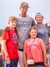 Samuel Mendez joins his host family for a photo after being drafted by the Milwaukee Brewers on Tuesday, July 13. Pictured are FRONT Tynlee Wertenberger; BACK ROW (L-R) Kyson Wertenberger, Samuel Mendez and Jobi Wertenberger.