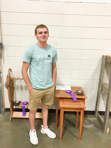 Reid Plattner earns Grand Champion in Sr. Woods division with his Nesting End Tables at the Nemaha County Fair.