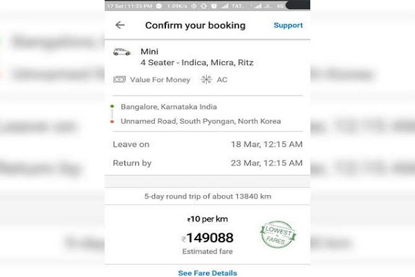 Booking from Bangalore to Korea