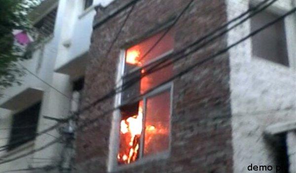 fire in hotel at Dashashwamedh in Varanasi