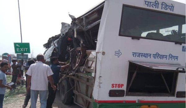 road accident : 12 killed, 24 injured as bus-dumper collision in Ajmer