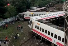 High speed train accident in Taiwan 18 killed, 164 wounded