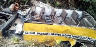 six children, driver killed as school bus falls into gorge in sirmour