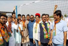 sirohi bjp leader during bjym vollyball compitition