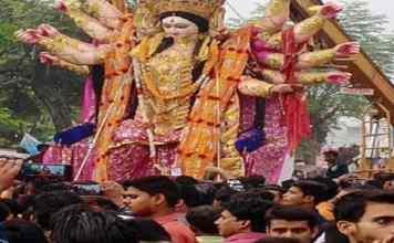 Durga idols immersed in Shakti Kund in Jaunpur, Uttar Pradesh