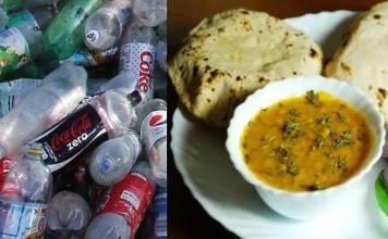 Get 20 empty plastic bottles and eat lentils