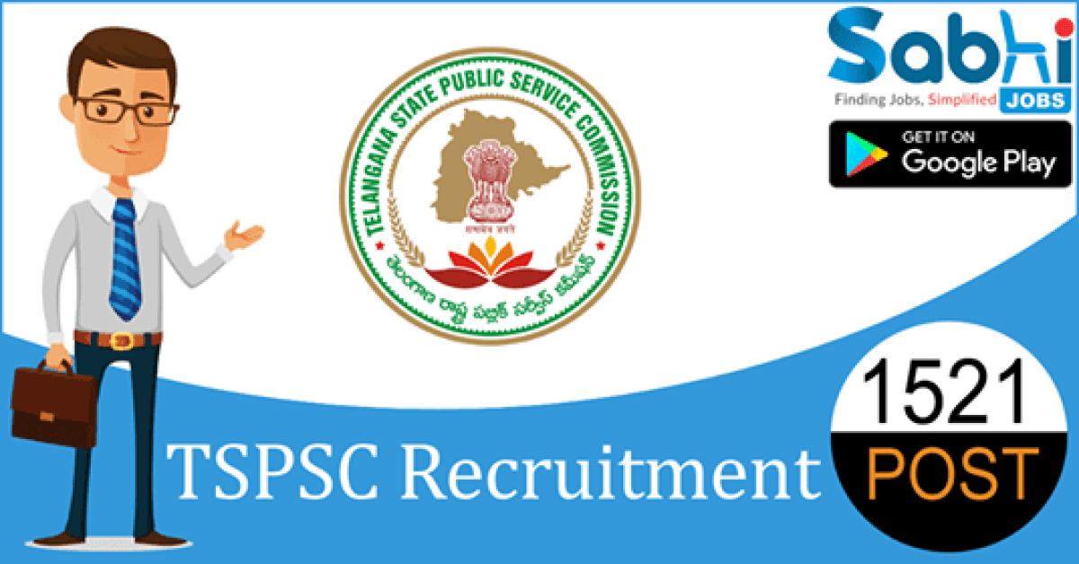 TSPSC recruitment 1521 Junior Assistant, Junior Steno, Typist