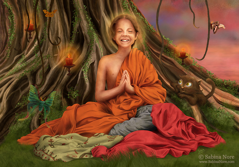 Little Buddha ☉ Painting by Sabina Nore