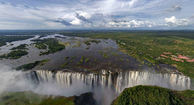aerial view of the mighty Victoria Falls on the Zimbabwean side