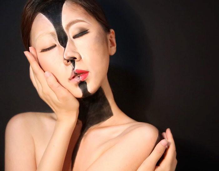 optical illusion, makeup, art, dain yoon, creative art in the world, Korean artist, amazing art