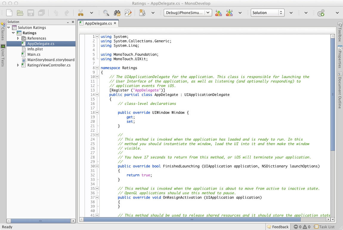 MonoDevelop window after creating solution