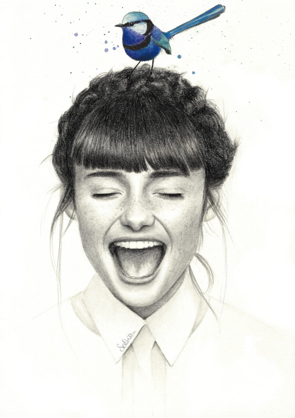 Graphite Portrait drawing girl with bird
