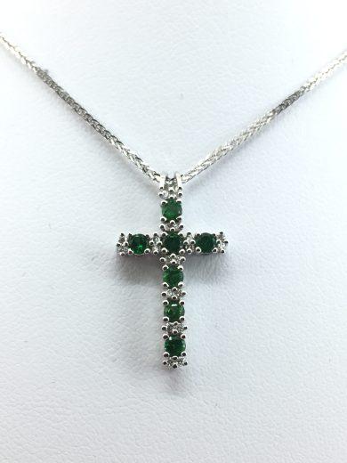 Collana oro bianco diamanti e smeraldi