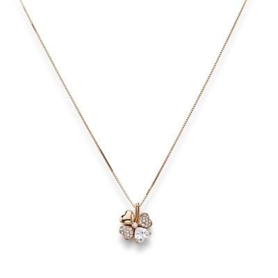 Collana quadricuore con zirconi bianchi e viola, Argento 925 oro