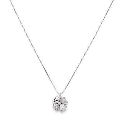 Collana quadricuore con zirconi bianchi e viola, Argento 925