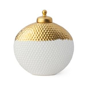 Contenitore medaglione in porcellana avorio e oro