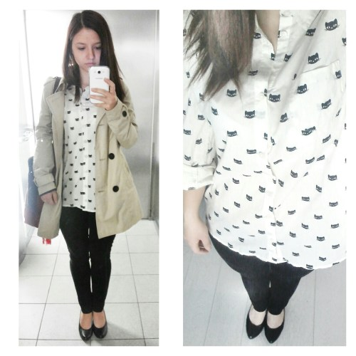 kitty shirt, outfit of the day, cat pattern, cat shirt, black and white, fashion